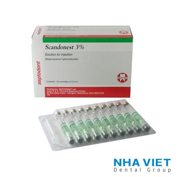 Thuốc tê xanh Septodont 3% không chất co mạch